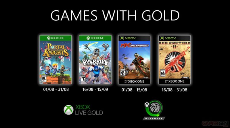 Xbox Games With Gold août 2020